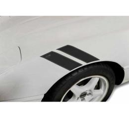 Corvette Fender Accent Stripes, Black With Crossed Flags Emblem, 1991-1996