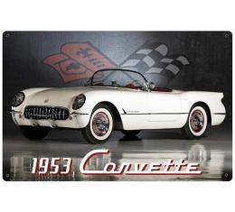Corvette Vintage Metal Sign, 18x12, 1953