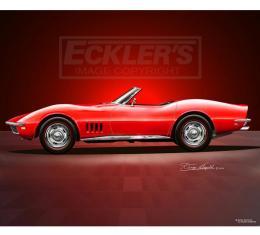 Corvette Fine Art Print By Danny Whitfield, 20x24, StingrayRoadster, Rally Red, 1968