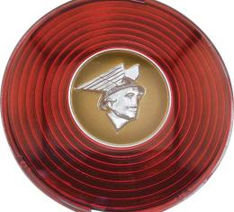 Horn Button - Plastic - Red Background With Gold & Chrome Details - 1946 - Early 47 Mercury