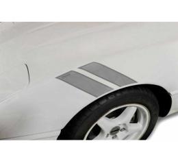 Corvette Fender Accent Stripes, Metallic Silver With 35th Anniversary Emblem, 1984-1996