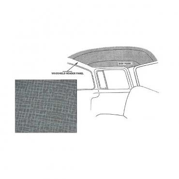 Ford Pickup Truck Headliner Kit - Gray - Plain Board - Non Perforated - Cab With Wrap-Around Rear Glass - 3 Pieces