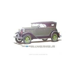 Model A Print - 1930 Ford Standard Phaeton (35B) With Deluxe Features - 12 X 18 - Unframed