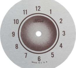 Mirror Clock Face - Round - Silver With Brown Text - Ford