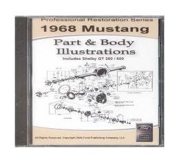 1968 Mustang Part & Body Illustrations On CD - For Windows Operating Systems Only