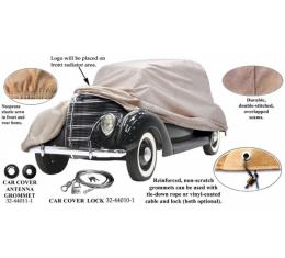 Car Cover, Poly Cotton, With Ford Crest (FD-12) Logo, Convertible, 1937-1938