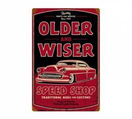 Chevy Metal Sign, Older & Wiser Speed Shop