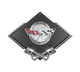 "Corvette C3 1978 Anniversary Emblem Metal Sign, Black Carbon Fiber, Crossed Pistons, 25"" X 19"""