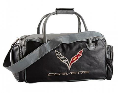 Corvette 24 Inch Custom Leather Duffle Bag, C7 Corvette Logo & Script