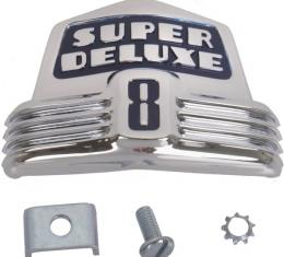 Front Hood Emblem - Super Deluxe On A Blue Background - DieCast - Chrome - Ford 8 Cylinder Passenger