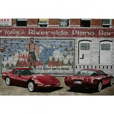 Corvette The Ruby Twins, Fine Art Print By Dana Forrester, 11x17