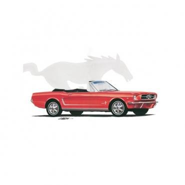 Limited Edition Print, Mustang, Convertible, Red, 1964 1/2