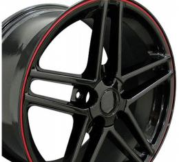 Corvette 19 X 10 C6 Z06 Reproduction Wheel, Black With Red Banding, 1988-2013