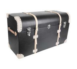 Model A Ford Trunk - Black Vinyl - Russet Leather Trim & Straps - Straight Back