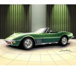 Corvette Fine Art Print By Danny Whitfield, 20x24, StingrayRoadster, Citrus Green, 1970