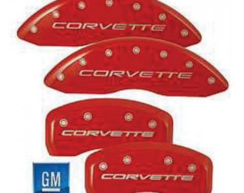 Corvette Brake Caliper Covers, MGP, Red, With Logo, Z06 & Grand Sport, 2006-2013