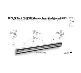 Ford Pickup Truck Door Upper Side Moulding - 3-5/8 Wide - With Black Insert - F100 & F250 Ranger From Serial #F70,001