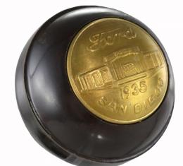 Gear Shift Knob - Floor Shift - Brown With 1935 Ford Expo San Diego Medallion - Ford