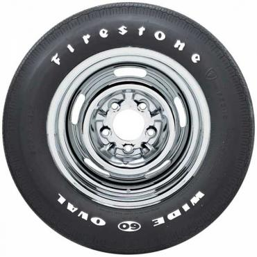 Chevelle Tire, Firestone Wide Oval, F60X15, White Letters, All Years