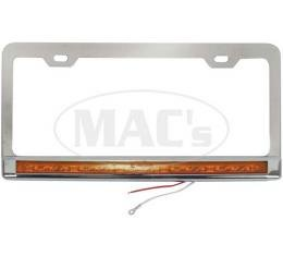 License Plate Frame, Stainless with Amber LEDs and Lens
