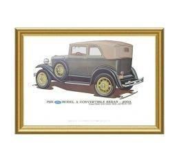 Model A Print - 1931 Ford Convertible Sedan (400A) - 12 x 18 - Framed