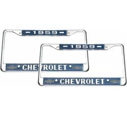 El Camino Dealership License Plate Frames, Chrome, Chevrolet, 1959-1976