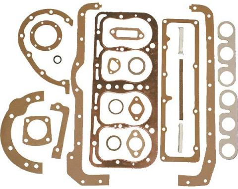 Model A Ford Engine Gasket Set - 21 Pieces - With US Made Fel-Pro Copper Head Gasket