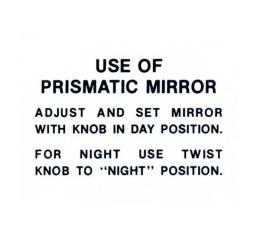 Prismatic Mirror Instruction Tag - Ford