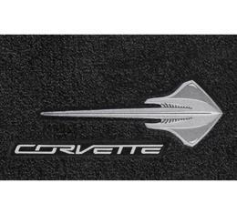 Lloyd Mats, Gray Floor Mats, Stingray Logo With Silver Corvette Script| V0665170 Corvette Stingray Only 2014-2017