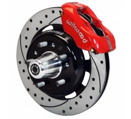 "Chevy Wilwood Big Brake Front Disc Brake Kit, Red Powder Coat 4-Piston Caliper, SRP Drilled & Slotted Rotor,12.19"", Forged Dynalite Pro Series 1955-1957"