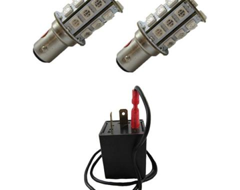 Mustang Non-Sequential LED Tail Light Lamp Kit, Red, 1964-1966