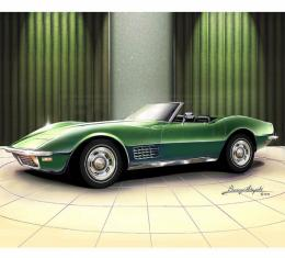 Corvette Fine Art Print By Danny Whitfield, 14x18, StingrayRoadster, Citrus Green, 1970
