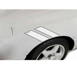 Corvette Fender Accent Stripes, White With Gray Trim And 35th Anniversary Emblem, 1984-1996