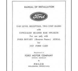 Radio Installation Handbook - 8 Pages - Ford
