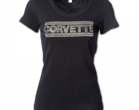 Corvette Rhinestone Ladies Tee Shirt, Black With Silver Rhinestones