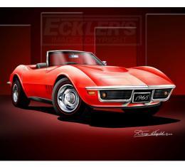 Corvette Fine Art Print By Danny Whitfield, 20x24, StingrayRoadster, Monza Red, 1968