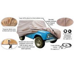 Car Cover With Logo, Poly Cotton, Without Rear Spare Tire, 1978-1979