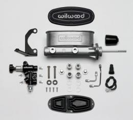 "Chevy Wilwood Master Cylinder Kit,  Bare Aluminum Tandem, with Bracket & Valve, 7/8"" Bore, 1955-1957"
