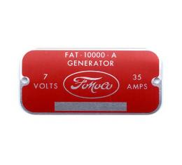 Ford Pickup Truck Generator Metal Tag