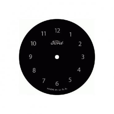 Mirror Clock Face - Round - Black With Silver Text - Ford