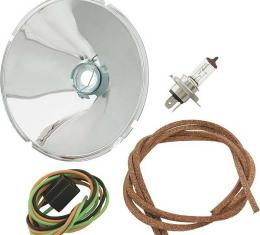 Model A Ford Quartz Halogen Reflector Kit - 6 Volt - Steel - Flash Coated Chrome