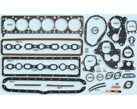 GMC Truck Engine Gasket Set, 228, 236, 248, 270 CI, 1947-1962