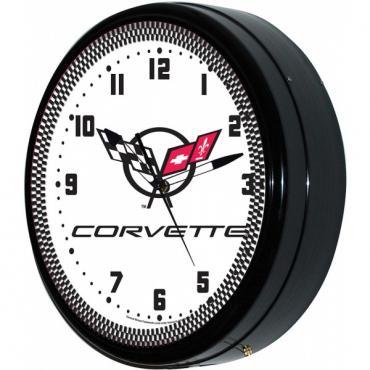 "Corvette Wall Clock, With C5 Logo, Neon, White, 20"""