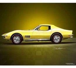 Corvette Fine Art Print By Danny Whitfield, 20x24, StingrayCoupe, Safari Yellow, 1968