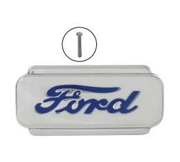 Hood Emblem - Ford Script - Die Stamped - Chrome With Blue Insert - Ford Pickup, Commercial & Truck Except Sedan Delivery