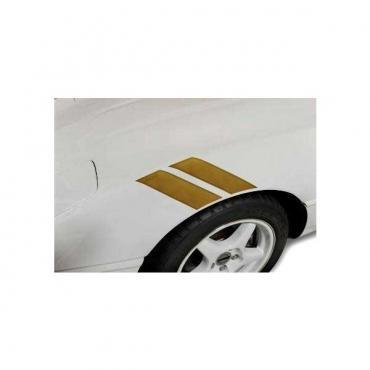 Corvette Fender Accent Stripes, Metallic Gold With 35th Anniversary Emblem, 1984-1996