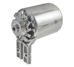 "PowerGen Alternator - Flathead - Polished Chrome Body, Endplate, Fan & Pulley - 12 Volt Negative - 5/8"" Wide Pulley - 11/2"" Shorter - Additional Clea"