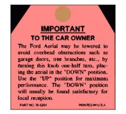 Antenna Instruction Tag - Ford