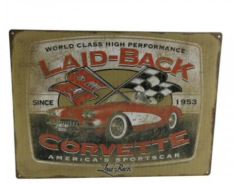 "Laid Back Ink Stockman Vette Tin Sign 12"" X 16"""