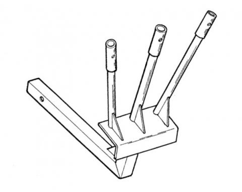 """Parade Flag Holder, Triple Flag, Standard Length, Fits into2"""" Square Hitch Opening"""